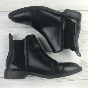 Chelsea Black Ankle Bootie Stud Detail Leather